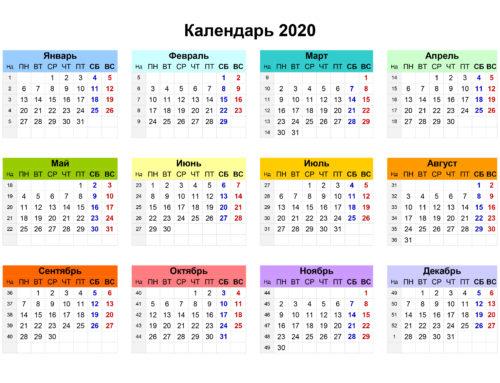 Календарь соревнований 2020